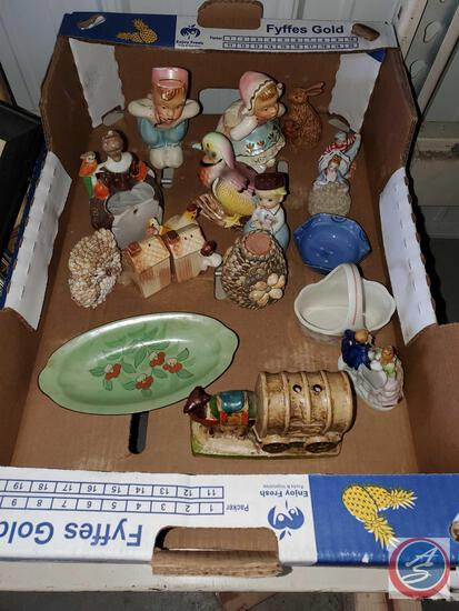 Lot of vintage and antique figurines, salt and peppers camel pencil holder