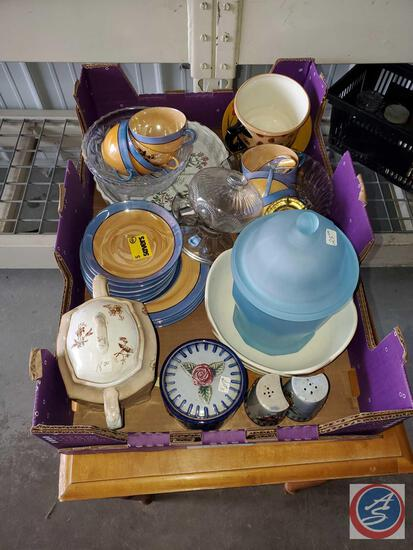 Antique glassware , teapots, cups and blue vase oil lamp and more