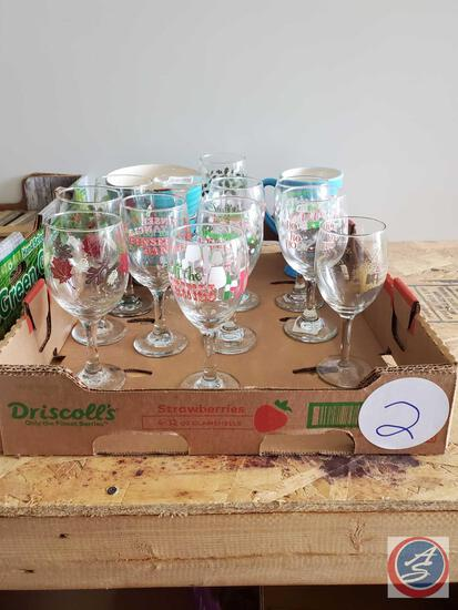 Contemporary Holiday Wine Glasses and teal cereal bowls