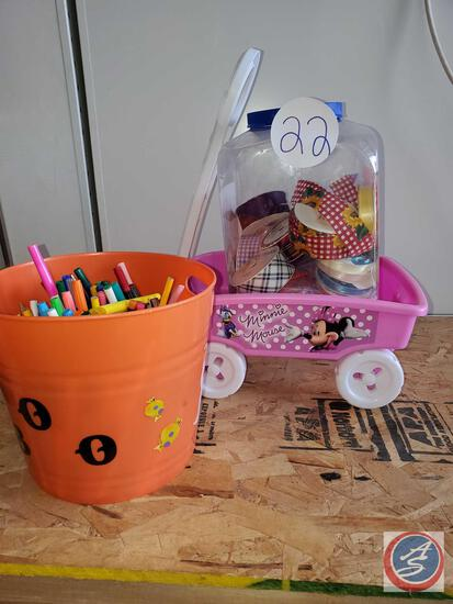 Lot of ribbon, Halloween tub with pens and markers, minnie mouse wagon
