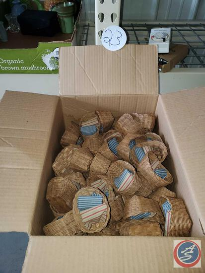 Box of tiny wicker baskets with sewn in blankets- great for crafting or country theme decor