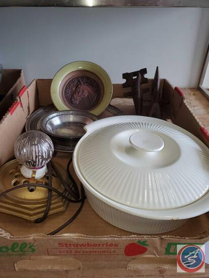 Flat of antiques. Silver plate reed and barton, red wing 563 dutch oven antique lamp base ak sar ben