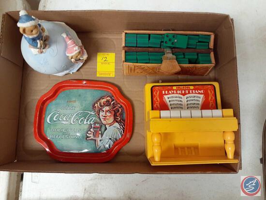 Shelcore 1984 Play Right Piano, Vintage Dominoes with Hand Tooled Leather Case, Vintage Coca-Cola