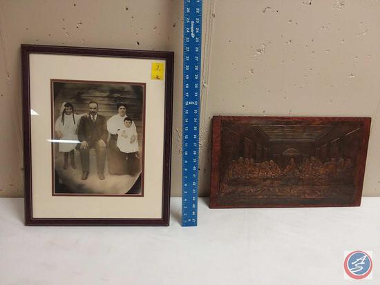 Framed Photo, The Last Supper Tin Pressed Art on Wood