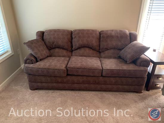 Sofa w/ Two Accent Pillows (No Brand Visible) 81'' x 35'' x 39''