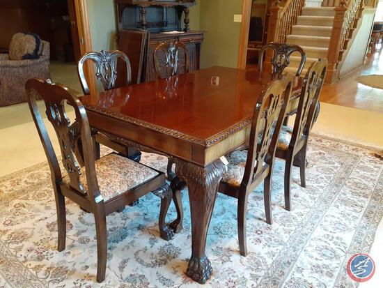 "{{9X$Bid}} Vintage Brown Cherry 9-Piece Dining Room Set 66"" X 31"" X 41"""