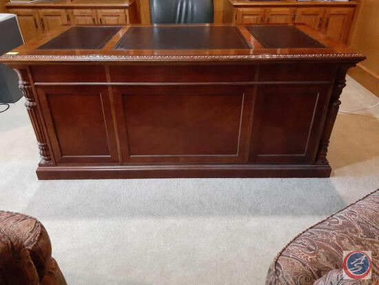 "Vintage Inlaid Cherry Wood Executive Office Desk 72"" X 30"" X 36"""