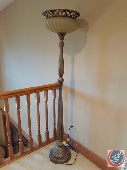 """Antique Brass Floor Lamp 69.5"""" Tall"""