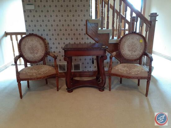 """{{2X$Bid}} Antique Louis XVI Needlepoint Chair 37"""" Tall (Table Sold Separately)"""