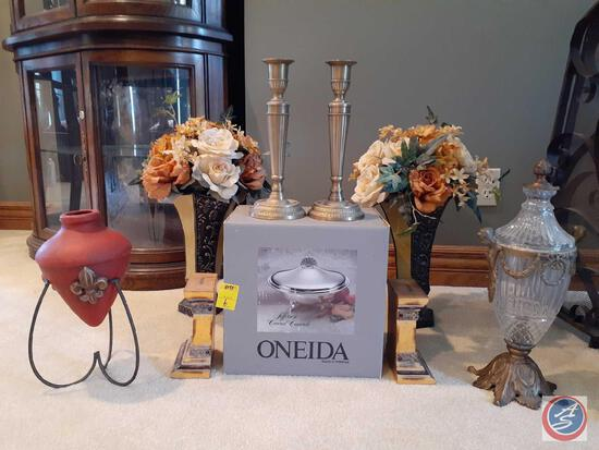 Bombay Candle Stick Holders (2), Oneida Jefferson Covered Casserole Dish, Book Ends, Vintage Ornate
