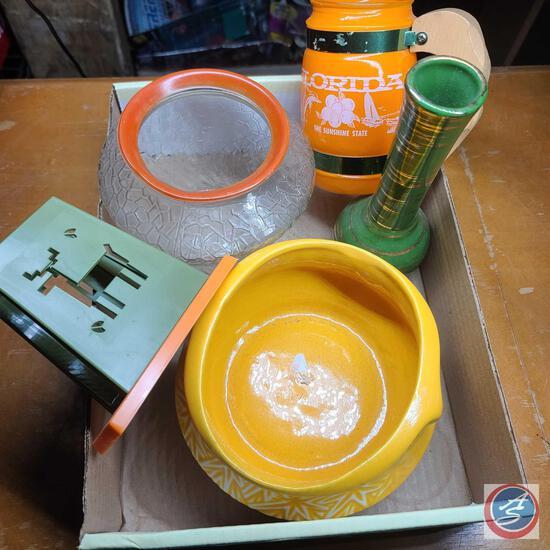 Yellow mccoy Planter, Green and gold guilded vase, Florida souvenir bowl, Retro napkin holder