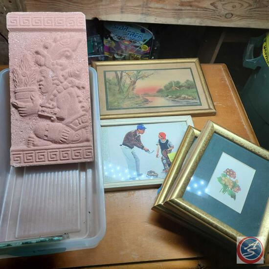 Mayan relief art plaque and assorted framed wall art