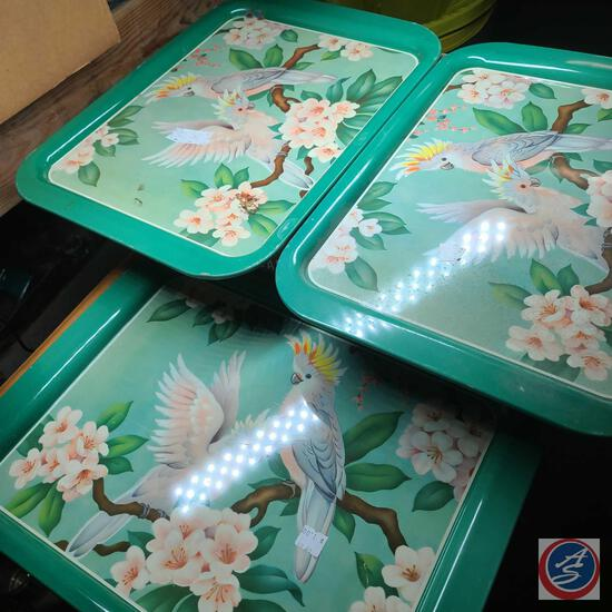 Vintage tropical bird metal trays Lot of 3