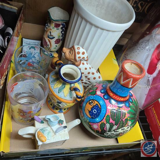 Roberto Lazaro painted Mexican pottery, Disney 100 year glasses, Vintage Houze Art novelty trinket