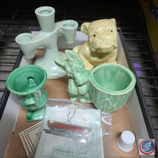 Small bulldog planter, Scottie dog planter, Ceramic decor