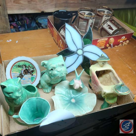 Jade green vintage Ceramic planters and bird trinket dish