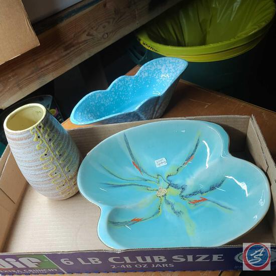 Bay Ceramik West Germany Ceramic bowl, Calart ceramics Vase, Blue and white 3003 USA pottery