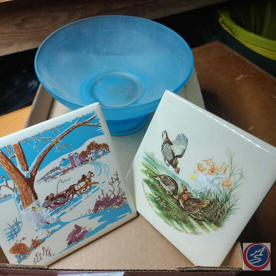 Audubon prairie chickens tile, Horse drawn sleigh tile, frosted glass blue 2 pc footed bowl