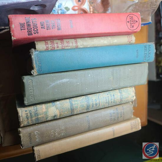 Lot of vintage books including the brownie scout, doctor rabbit and Bush tail Fox, episodes from