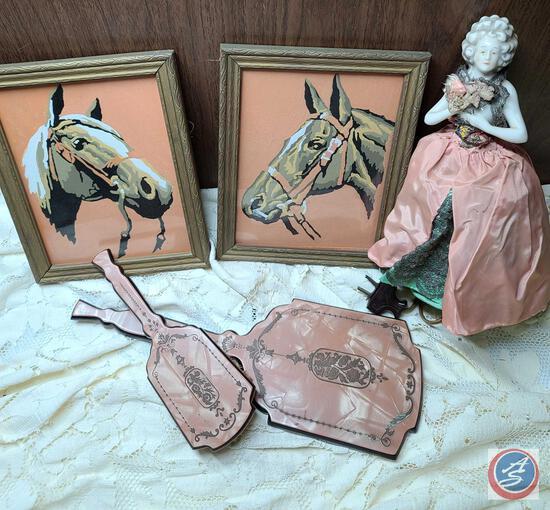 Paint by Number Horse art framed, vintage porcelain lady lamp, plush pink vanity set