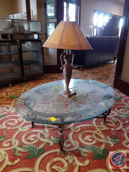 """Coffee Table with Metal Base and Glass Top 52"""" X 40"""" X 17"""" and Table Lamp"""