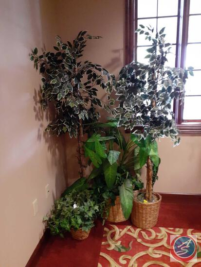 Artificial Trees in Woven Baskets with Lights (2), Artificial Plants in Woven Baskets (2)