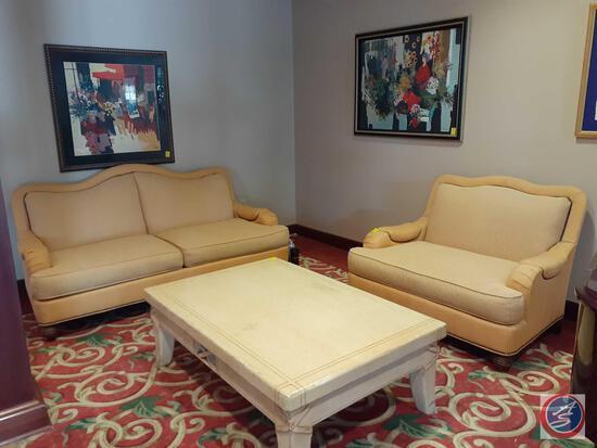 "{{2X$Bid}} Pearson Chair with Nailhead Accents 35"" X 38"" X 48"" and Matching Pearson Love Seat 76"" X"