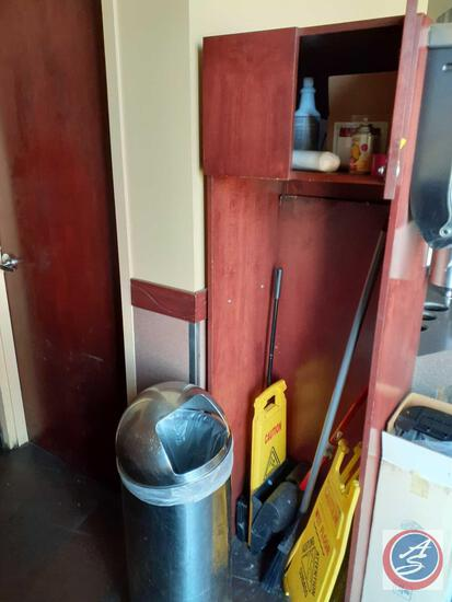 Wet Floor Signs (2), Cleaning Supplies Including Broom and Dust Pan, Metal Trash Can