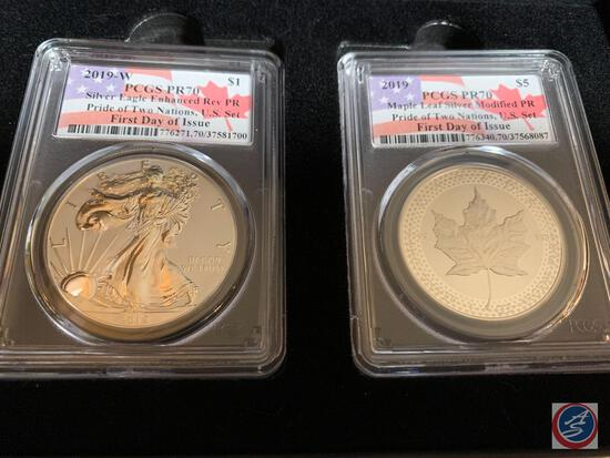 Silver Dollar 2019 (2) Pride of Two Nations Silver Eagle Enhanced Reverse PR PCGS slabbed and graded