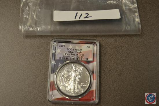 Silver Eagle 2019 Is, PCGS slabbed and graded MS70