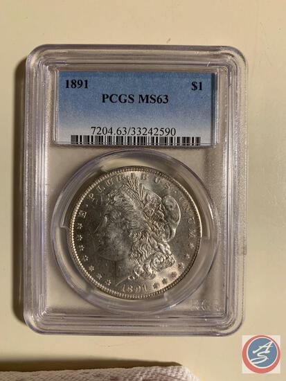 Silver Dollar 1891 PCGS slabbed and graded MS63