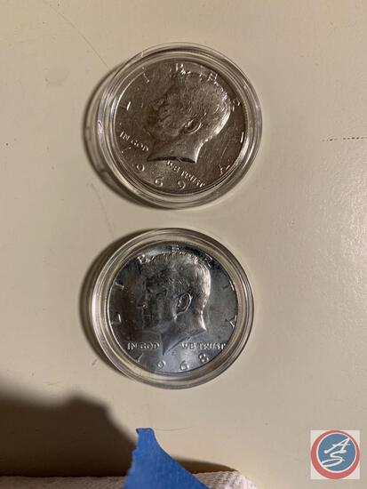 50 cents Silver Kennedy 1968-1969 (2) coins