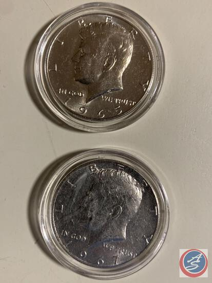 50 cents Silver Kennedy 1966-67 (2) coins