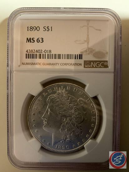 Silver Dollar 1890 NCG slabbed and graded MS 63