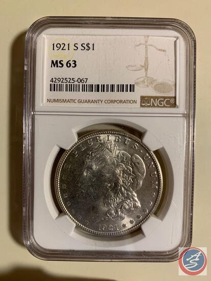 Silver Dollar 1921S NGC slabbed and graded MS 63