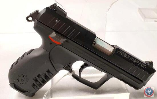 Ruger Model SR22PB 22 LR Pistol Semi-Auto pistol with 3 inch barrel in factory box and soft case.