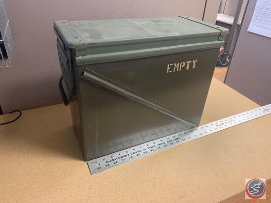 Military Issue Ammo Can - Used Measures 18 inches x 15 inches x 7 1/2 inches wide.