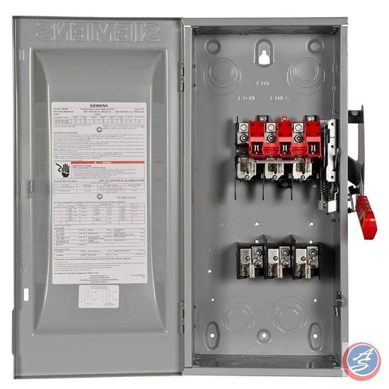 Siemens, HF363, 100-Amp 3 Pole 600-volt 3 Wire Fused Heavy Duty Safety Switch