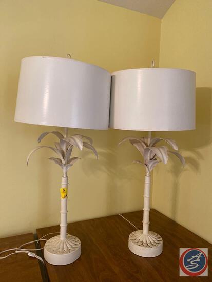 """{{2X$Bid}} Metal Palm Tree Lamps 38"""" Tall (2)"""