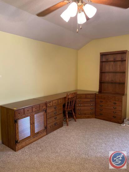 "{{4X$Bid}} Ethan Allen Dresser Set Includes Book Shelf with Five Drawer Measuring 30"" X 18.5"" X 78"","