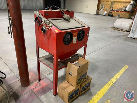 Central Pneumatic Sand Blast Cabinet and 2.5 boxes of Walnut Shell Media