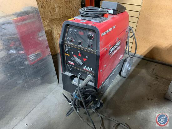 Lincoln Electric Precision TIG 225 TIG welder with assorted electrodes.