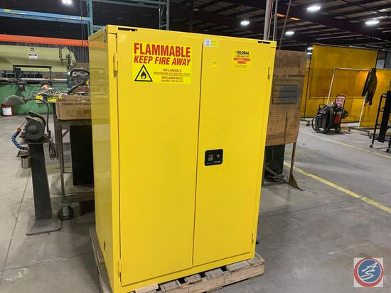 Global Industries Model BS-90. 90 gallon flammables storage cabinet. 43 x 34 x 66 inches.