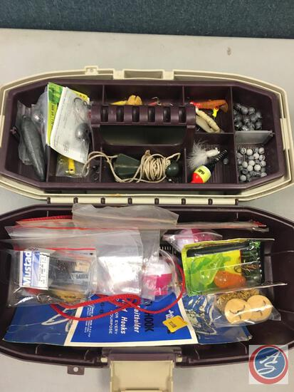 Plano removable single tray w/contents included - Lures of various types, Hooks, Weights, and Floats