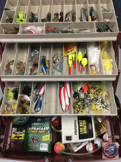 Plano plastic three tiered storage trays w/contents included - Lures of the various types, Hooks,