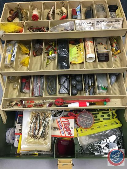 Plano 6300 plastic three tiered storage trays w/contents included - Lures of the various types,