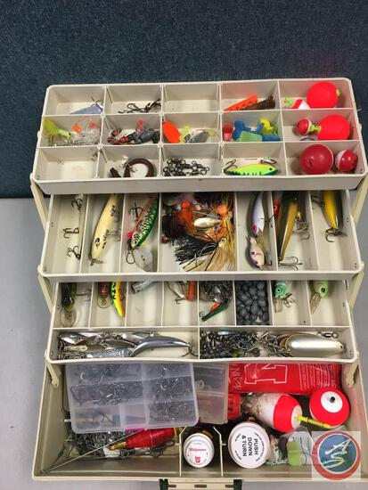 Rebel 635 plastic three tiered tacklebox contents included