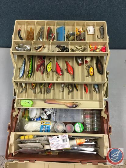 Plano plastic split top three tiered storage trays w/contents included - Lures of the various types,