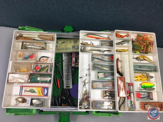 UMCO plastic split top three tiered storage trays w/contents included - Lures of the various types,