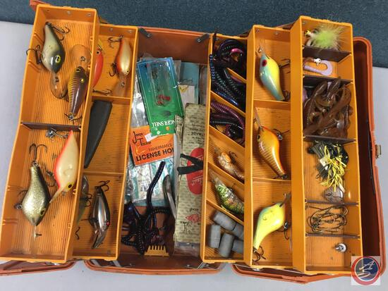 Fenwick 3.5 plastic five tiered storage trays w/contents included - Lures of the various types,